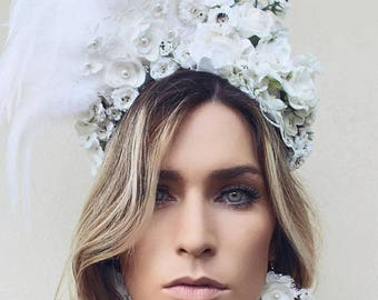 white fascinator - lace flower crown