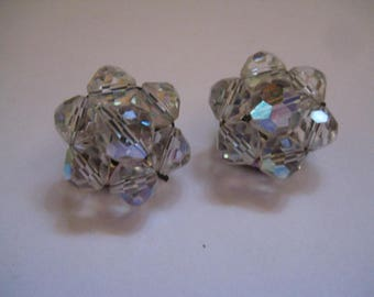 50s Cluster Style Clipback Earrings with Faceted Crystal AB Beads