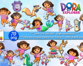 70 Dora the explorer Clipart - 70 PNG - 150-300 Dpi, Dora the explorer png, Dora the explorer clip art,Instant download printable ONLY FILES