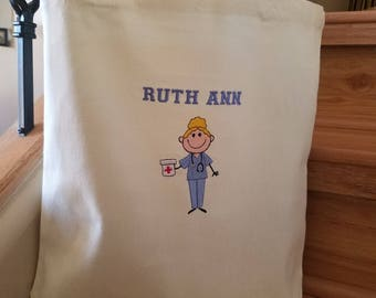 Lightweight Custom Embroidered Nursing Tote, Perfect Gift for the New Grad or Medical Professional, Great for carrying all your essentials