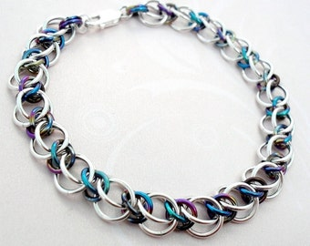 Genuine Solid 925 Sterling Silver & Rainbow Niobium Chainmaille Bracelet Classic Half Persian