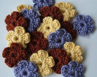 Crocheted Flowers - Yellow, Lilac and Rust - Forget-Me-Nots - Wool Flowers - Flower Appliques - Crocheted Embellishments - Set of 6