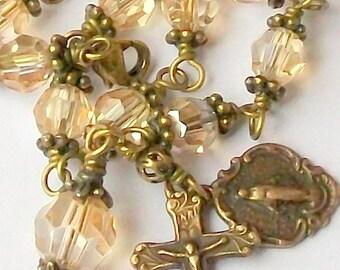 Vintage Look Gold Crystal Rosary Bracelet Antique Brass Swarovski Crystal Catholic Unbreakable Miraculous Medal FREE SHIP