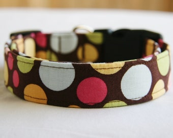 Dog Collar-Circus Dots on Brown-Adjustable Dog- Pet Collar- Pet Accessories- Supplies Small to Large Breed Dog-1 inch 1.5 -2 inch width