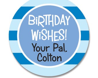 Boys Birthday Stickers, Custom Birthday Present Favor Tags, Present Gift Tags