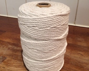 Macrame Cord / Twisted 3-Strand Cotton Cord / 100% Cotton Rope / Natural Ecru or Bleached White / Various Diameters & Great Lengths