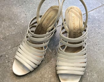 Vintage Charles Jourdan White Leather Slingback Sandal Heels, 70s Women Shoes