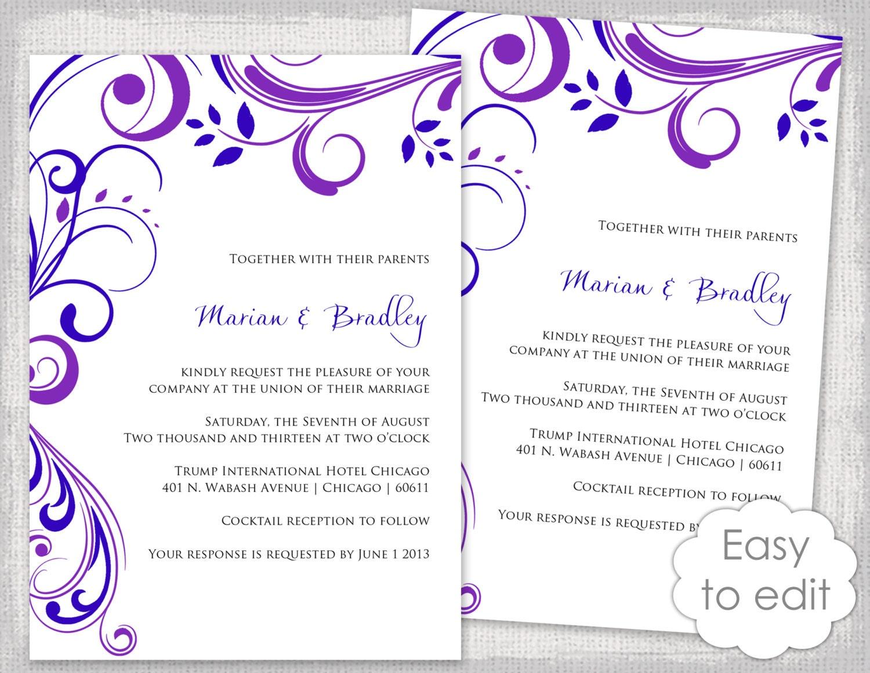 Invitaciones editable plantilla púrpura y azul real