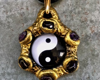 Golden Tai Chi Photo Pendant with Amethyst and Garnet | Made in Melbourne | Australian Seller