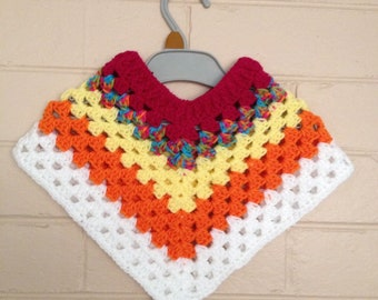 crochet Mexican poncho for baby girls and boys, baby shower gift, baby boy poncho, baby girl poncho, newborn poncho, granny square poncho,