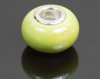 2 European style lemon yellow ceramic beads