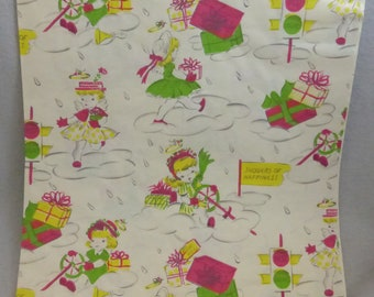 "Vintage Folded Gift Wrap Wedding Shower by Dennison Designed 2 Sheets 20""X30"""