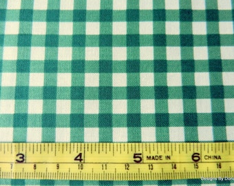 "One Half Yard Cut Quilt Fabric, 1/4 inch Green and White Gingham ""White Christmas"" by Patrick Lose for RJR, Sewing-Quilting-Craft Supplies"