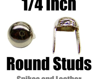 "Made in U.S.A. 100 pcs Dome Shaped Round Studs 1/4"" Nailhead 6-mm Spot Tack Spikes Chrome/Silver Jackets Vests Sneakers Hats Caps DIY Spots"