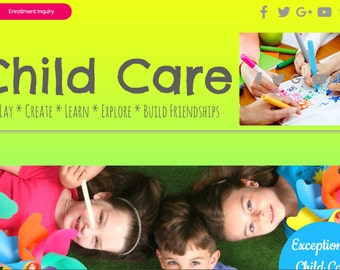 Child Care Website Template built on the WIX Platform - Photography Included - Childcare or Preschool