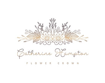 Premade logo, flower logo, handdrawn logo, floral logo, flower crown logo, hair accessories logo, feminine logo, business logo, botanic logo