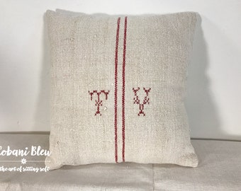 Grain Sack Pillow with Initials TV