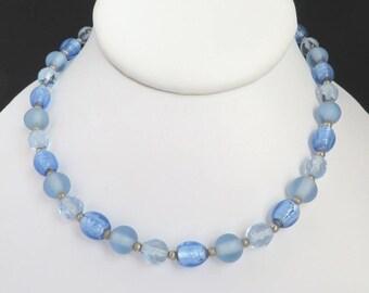 Blue Bead Necklace, Vintage Choker, Filene's Jewelry, Frosted Bead Choker, Vintage Beaded Necklace, Gift For Her