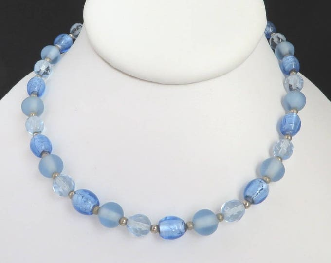 Blue Bead Necklace, Vintage Choker, Filene's Jewelry, Frosted Bead Choker, Vintage Beaded Necklace, Gift For Her