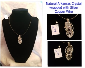 Wire Wrapped Crystal, Chalcedony, Agate Stone Pendant Jewelry