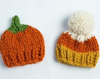 October Halloween Pumpkin Hat Chunky Knit - Candy Corn - Photo Prop - Newborn, Baby, Child