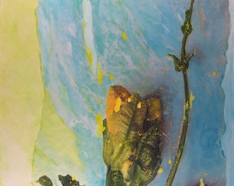 Courgette, mixed-media painting. Botanical Energy Aura Art by Laura den Hertog