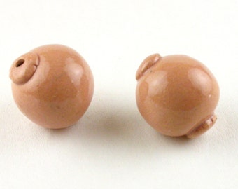 Pink Peach Stoneware Beads, peach Beads with Bead Caps, Bead cap beads, lantern beads, light pink beads, light coral beads, artist beads