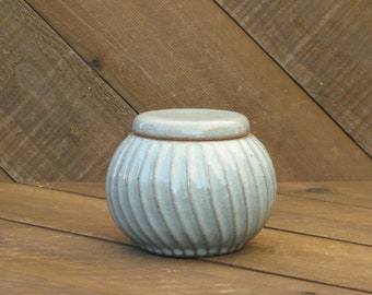 Carved Jar - Fluted - Ceramic Jar - Celadon Glaze - Light Blue Jar - Wheel Thrown - Reduction - Go Play Clay - Guiliotis - Made to Order