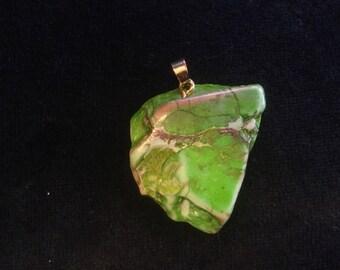 A Sea Green Jasper with a Customized Brass Hanger