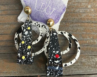 80s black + white splatter dangly earrings with artist's yellow + red painted dots