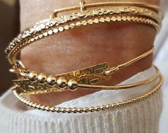 Gold Bangle Bracelets Choice, Stacking Bracelets, Floral Bangle, Beaded Bangle, Secret Code, Handmade