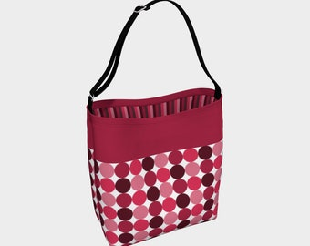 Day Tote - Vintage Red Mod Dots