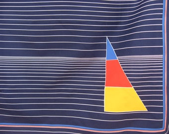 Sailboat Scarf, vintage abstract design yellow red sailing vessel on blue lake. Seaside, boating, yachting, beach house style fashion shawl.