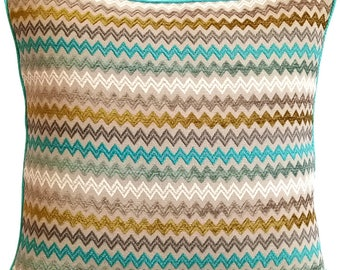 Decorative Throw Pillows Covers 12 x 12 Aqua Pillow Covers Jacquard Chevron Pattern with Embroidered Couch Pillows - Chevron Seas