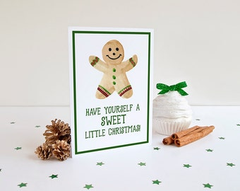 Gingerbread Man Christmas Card - Watercolor Greeting Card (Set of 10) - Happy Holidays Merry Christmas Greeting Card - Season's Greetings
