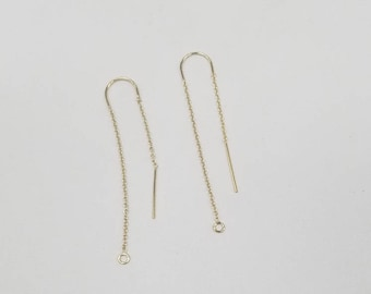 14k Gold Filled U Threaders with Cable Chain, 1 Pair, USA