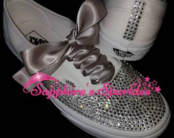 Silver Vans Customised Vans Bride Vans Bling Vans White Vans Wedding Vans Wedding Shoes Bride Shoes Prom Shoes Prom Vans Crystal Bride Pump