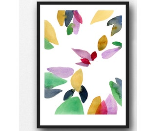 Colorful watercolor painting, Autumn series, Abstract watercolor print Watercolor art, colorful home decor