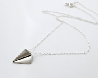 Paper plane necklace, Airplane necklace, Silver jewelry, delicate origami charm pendant, travel, Sterling chain, holidays gift, by balance9