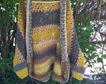 Womens L/XL crochet cocoon sweater