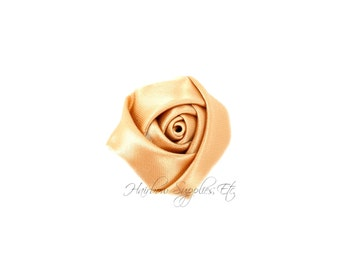 Champagne Mini Satin Rolled Flowers Rosettes 1-1/2 inch - Champagne Fabric Flowers, Champagne Hair Flowers, Champagne Silk Flowers
