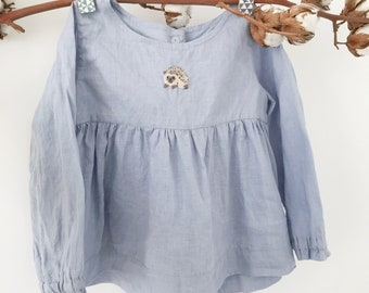 Linen Tunic, Linen Shirt, Blue Tunic, Washes Linen, Hand Embroidery, Organic Kids Clothing, Little_Alice_linen