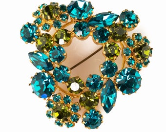 Made in Austria Large Statement Brooch | Teal Blue & Olive Green Rhinestone Flowers