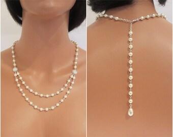 Pearl Backdrop Necklace, Bridal backdrop necklace, Bridal jewelry, Wedding Back drop necklace, Wedding necklace, Pearl necklace, Swarovski
