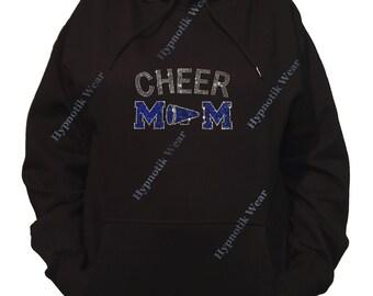 "Rhinestone Women's Pullover Hoodie "" Blue Cheer Mom with Megaphone "" Sweatshirt Sm to 3X"