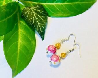 Unique Floral Ceramic Drop Earrings