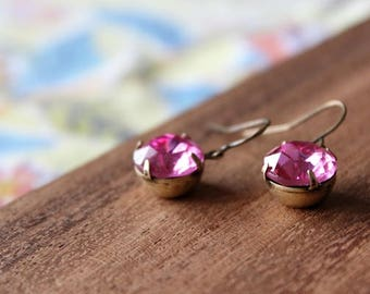 vintage glass earrings - pink