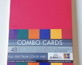 48 Cards w/Envelopes/8 Each Color/2 Sizes