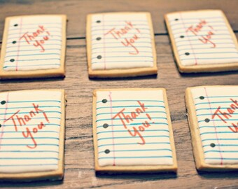 Thank You Notebook Paper Cookies