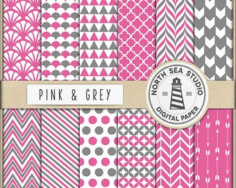 Pink And Grey Digital Paper Pack | Scrapbook Paper | Printable Backgrounds | 12 JPG, 300dpi Files | BUY5FOR8